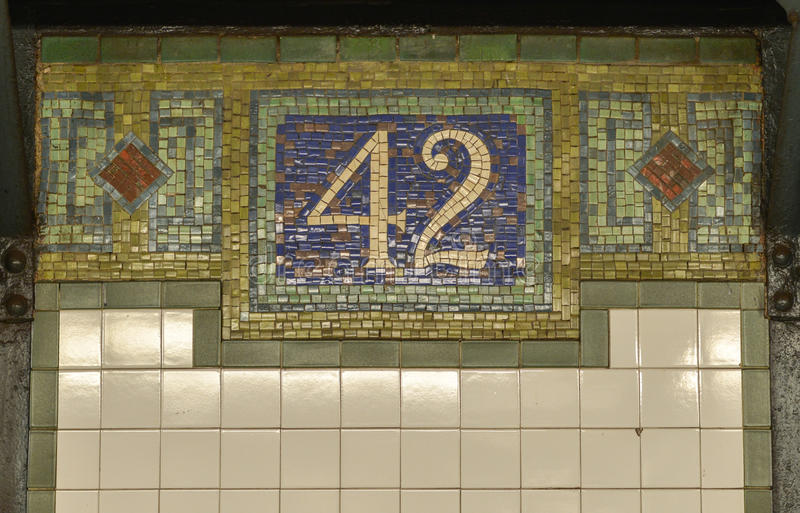 42nd Uliczny NYC metra znak zdjęcia stock