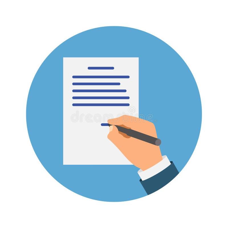签署NDA的色的Cartooned手 合同签字的文件 NDA?? 秘密文件 皇族释放例证