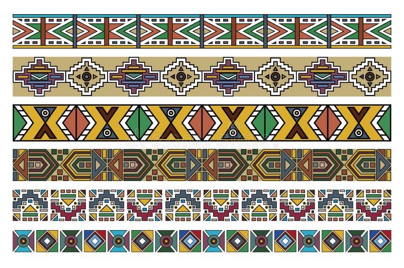 Ndebele African Border Pattern Art 2. Vector art of various Ndebele African patterns borders artwork