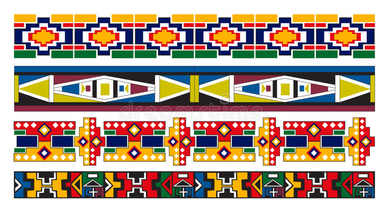 Ndebele African Border Pattern Art. Vector art of various Ndebele African patterns borders artwork