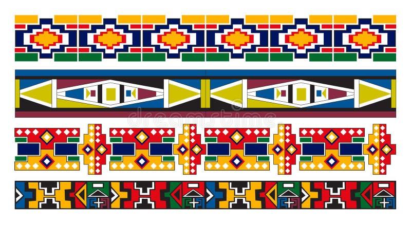 Ndebele afrikanische Rand-Muster-Kunst lizenzfreie abbildung