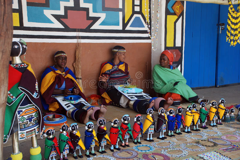Ndebele women in traditional dress (South africa) stock photo