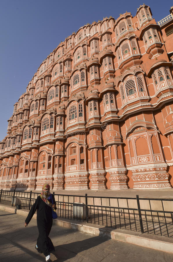 Ndian lady - Palace of the Winds - Jaipur - India stock images