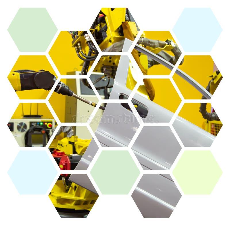 Ndustry robot arm spot welding car door in hexagon shape. Ndustry robot arm spot welding car door graphic design in hexagon shape stock illustration