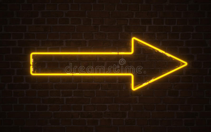 Neón amarillo de la flecha stock de ilustración