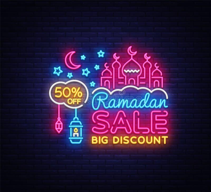 Neón de la oferta de la venta de Ramadan Kareem Plantilla del diseño del ejemplo del vector de los descuentos de Ramadan Holiday  libre illustration
