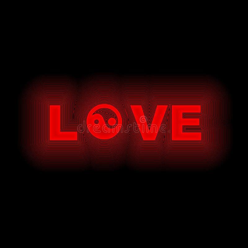Neón de yang del yin del amor en rojo ilustración del vector