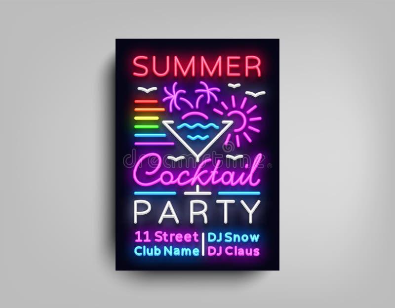 Neón del cartel del cóctel Diseño de la plantilla del aviador en el estilo de neón Invitaciones de la danza del cóctel del verano stock de ilustración
