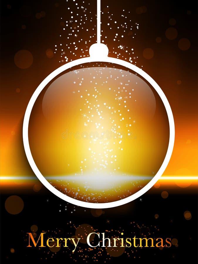 Neón del laser de la bola de la Feliz Navidad stock de ilustración