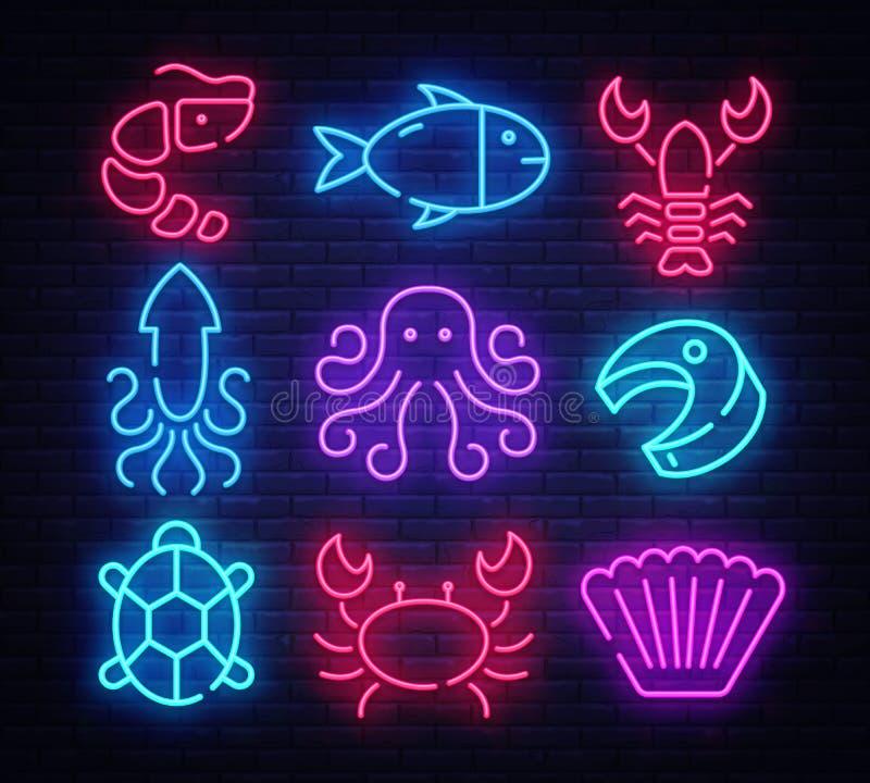 Neón del sistema del icono de los mariscos Plantilla del dise?o, elementos del dise?o Objetos deliciosos de la cocina Bandera lig ilustración del vector