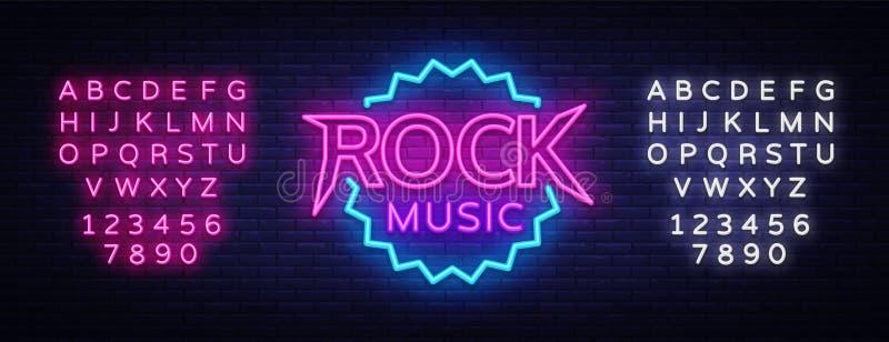 Neón del vector de la música rock Señal de neón de la música rock, muestra brillante de la noche, bandera ligera, noche de neón L ilustración del vector