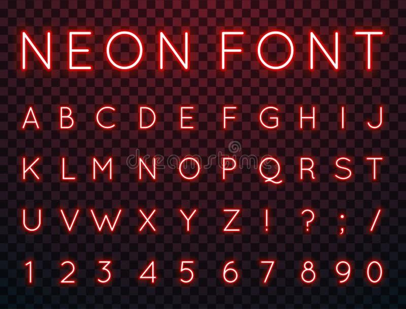 Neón, fuente de vector ilustración del vector