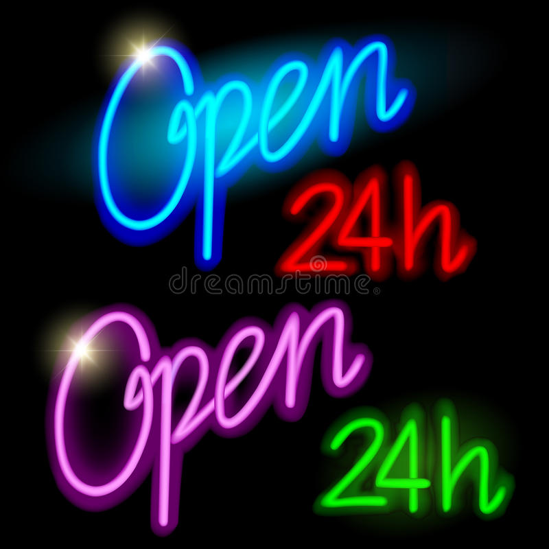 Neón 24h abierto stock de ilustración