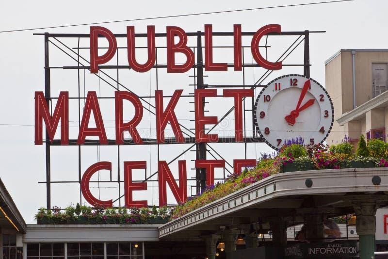 Neón Seattle del centro del mercado público fotografía de archivo