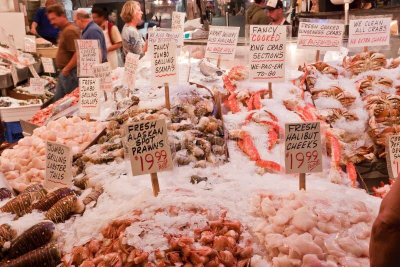 Neón Seattle del centro del mercado público foto de archivo libre de regalías