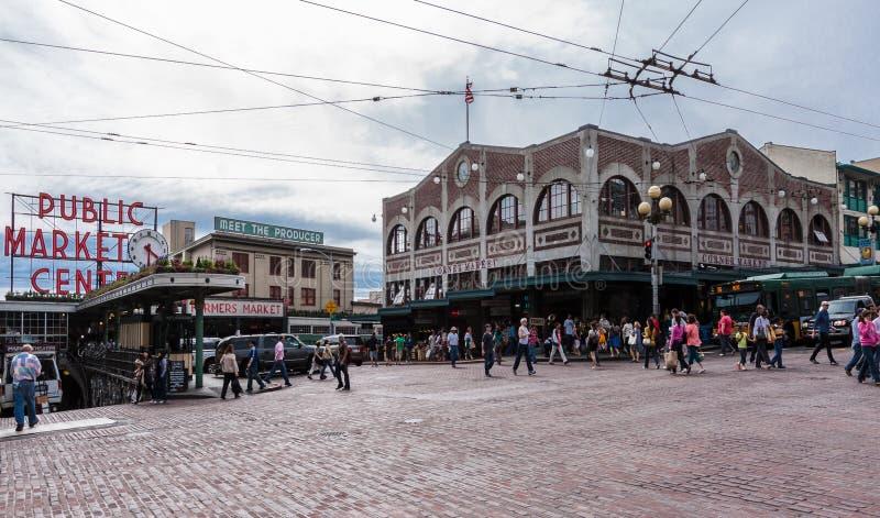 Neón Seattle del centro del mercado público imagen de archivo libre de regalías