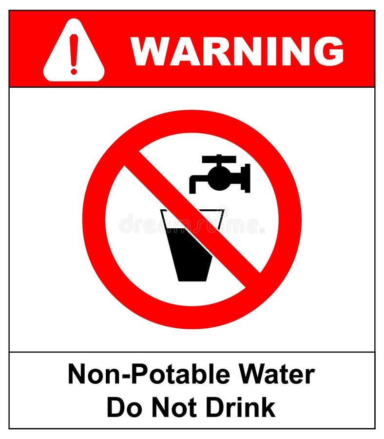 Ne buvez pas le signe d'interdiction de l'eau Illustration de vecteur illustration libre de droits