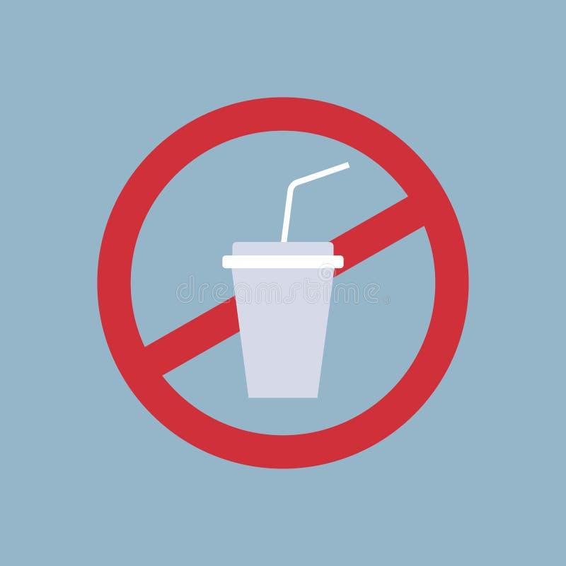 Ne dites non à la pollution en plastique d'affiche de tasse réutilisant le problème d'écologie sauf le signe d'interdiction de pa illustration de vecteur
