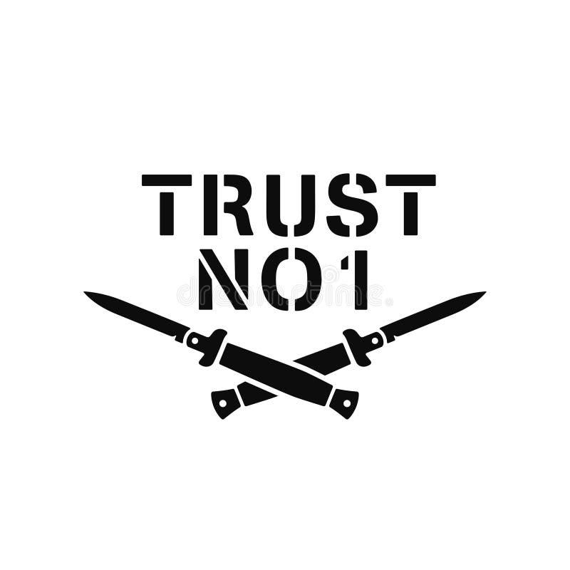 Ne faites confiance à aucune conception minimaliste de T-shirt Illustration de vintage de vecteur illustration libre de droits