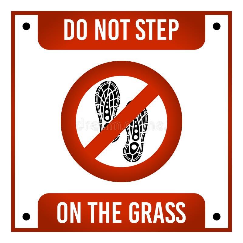 Ne faites pas un pas sur le vecteur de signe d'herbe illustration libre de droits