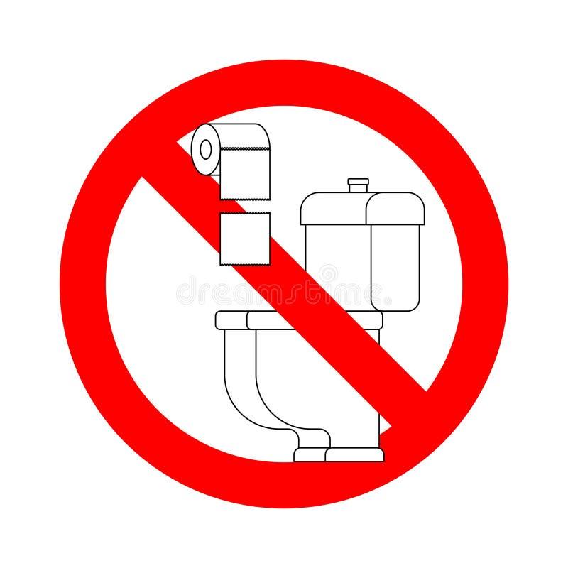 Ne jetez pas les serviettes de papier dans la toilette Arrêtez le signe Interdiction pour la carte de travail illustration de vecteur