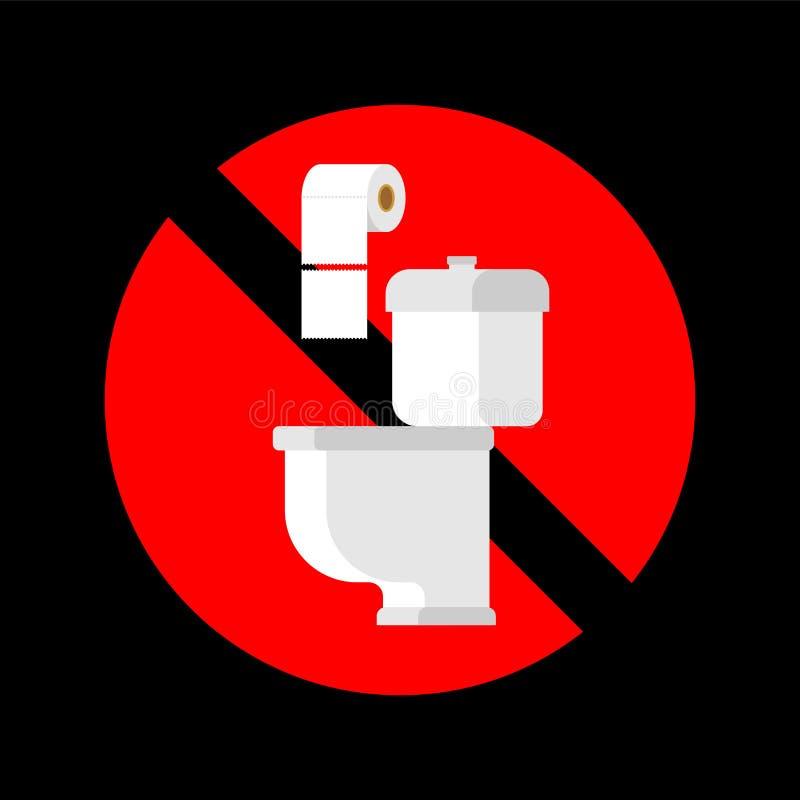 Ne jetez pas les serviettes de papier dans la toilette Arrêtez le signe Interdiction pour la carte de travail illustration libre de droits