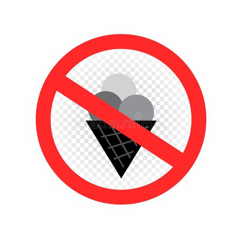 Ne mangez pas l'icône de signe de crème glacée  illustration de vecteur