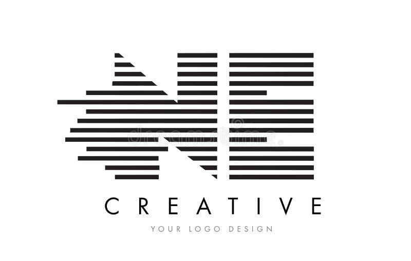 NE N E Zebra Letter Logo Design with Black and White Stripes vector illustration