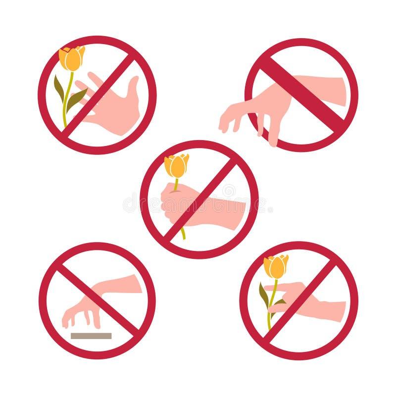 Ne plumez pas les fleurs aucune variation de symbole de signe de sélection illustration de vecteur