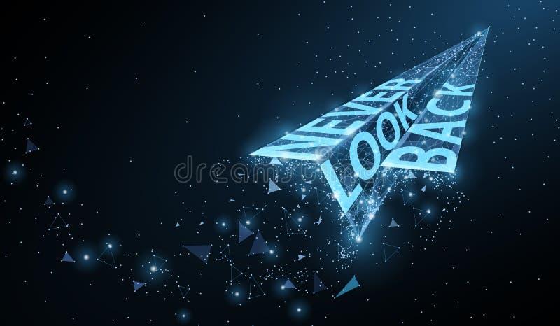 Ne regardez en arri?re jamais Avion de papier abstrait avec le slogan de motivation sur le fond bleu-foncé illustration libre de droits