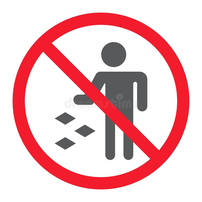 Ne salissez pas l'icône de glyph, interdiction interdite illustration stock