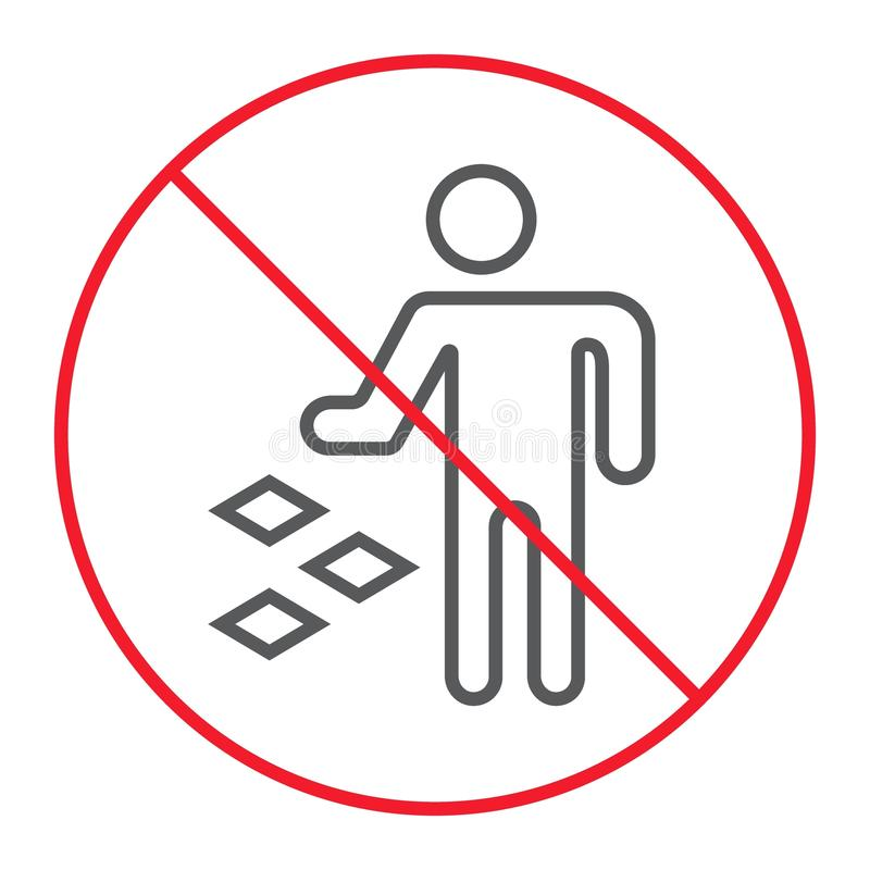 Ne salissez pas la ligne mince icône, interdiction illustration stock