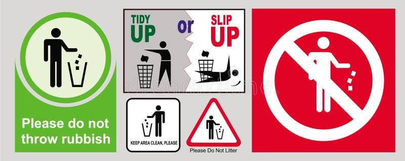 Ne salissez pas les signes illustration stock