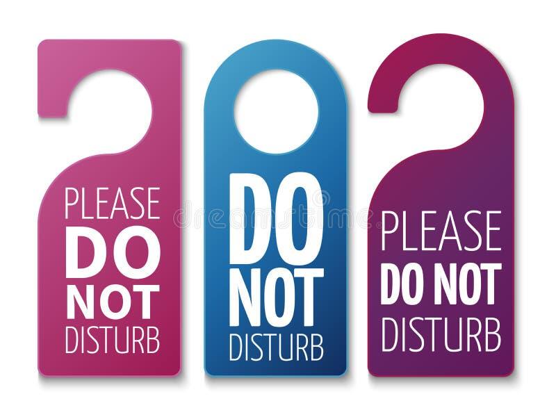 Ne touchez pas aux signes de vecteur de pièce Cintres de porte d'hôtel illustration libre de droits