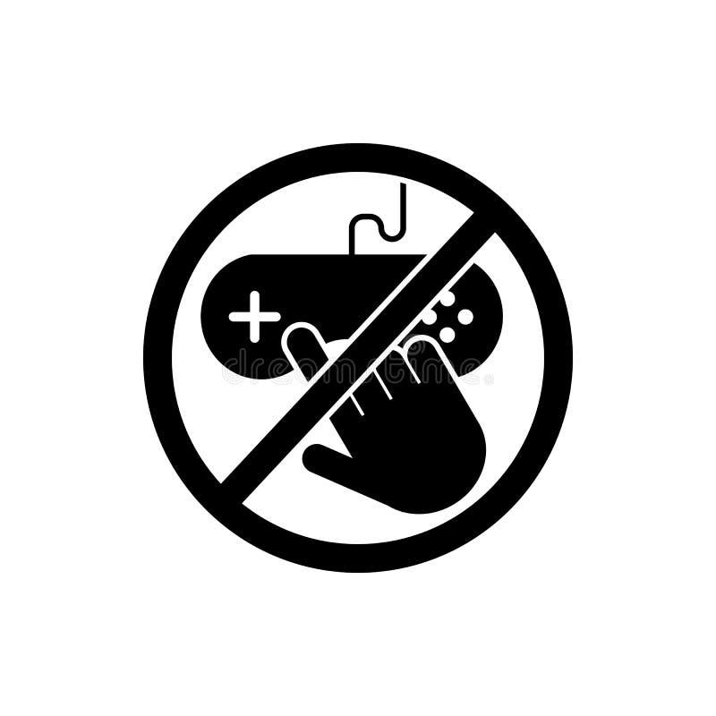 ne touchez pas, icône de console de jeu Élément d'icône de signe d'interdiction Icône de la meilleure qualité de conception graph illustration libre de droits