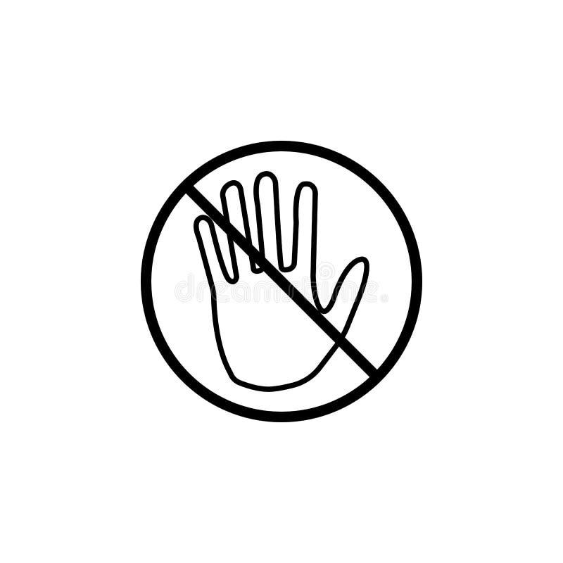 Ne touchez pas la ligne icône, aucun signe d'interdiction d'entrée illustration de vecteur