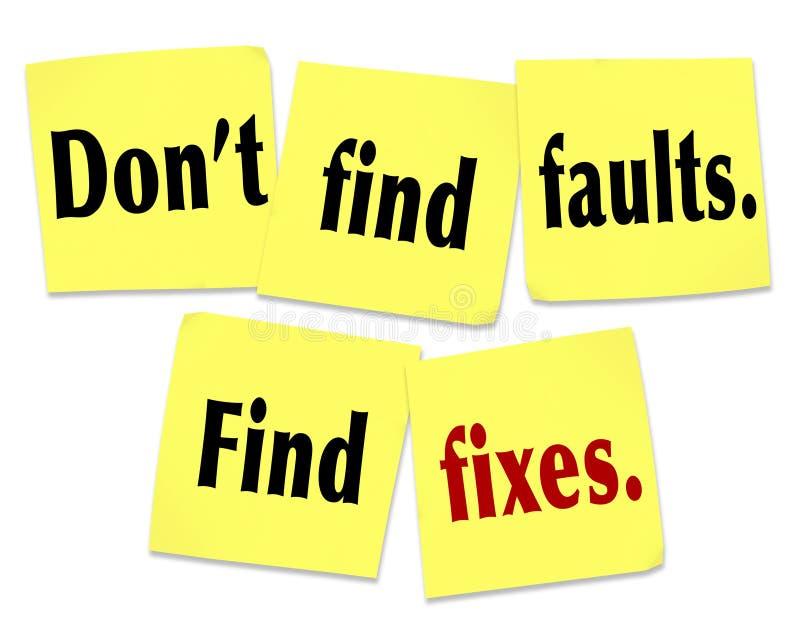 Ne trouvez pas que les défauts trouvent des difficultés indiquer les notes collantes de citation illustration stock