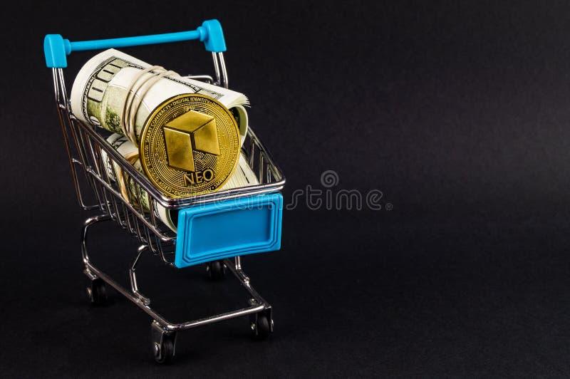 Nea es una manera moderna de intercambio y esta moneda crypto es los medios del pago convenientes en el financiero foto de archivo