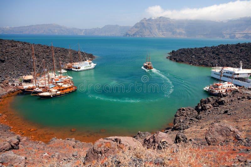 Nea Kameni powulkaniczna wyspa, Santorini obrazy stock