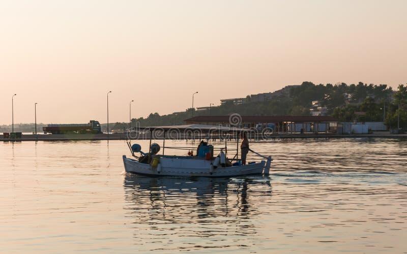 Nea Moudania - Chalkidiki, Greece. Fishing boat at Nea Moudania - Chalkidiki, Greece near sunset a summer day royalty free stock photo