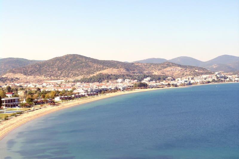 Nea Peramos in sunny day. Blue Aegean sea, blue sky, bright day, summer, Nea Peramos, Greece stock image