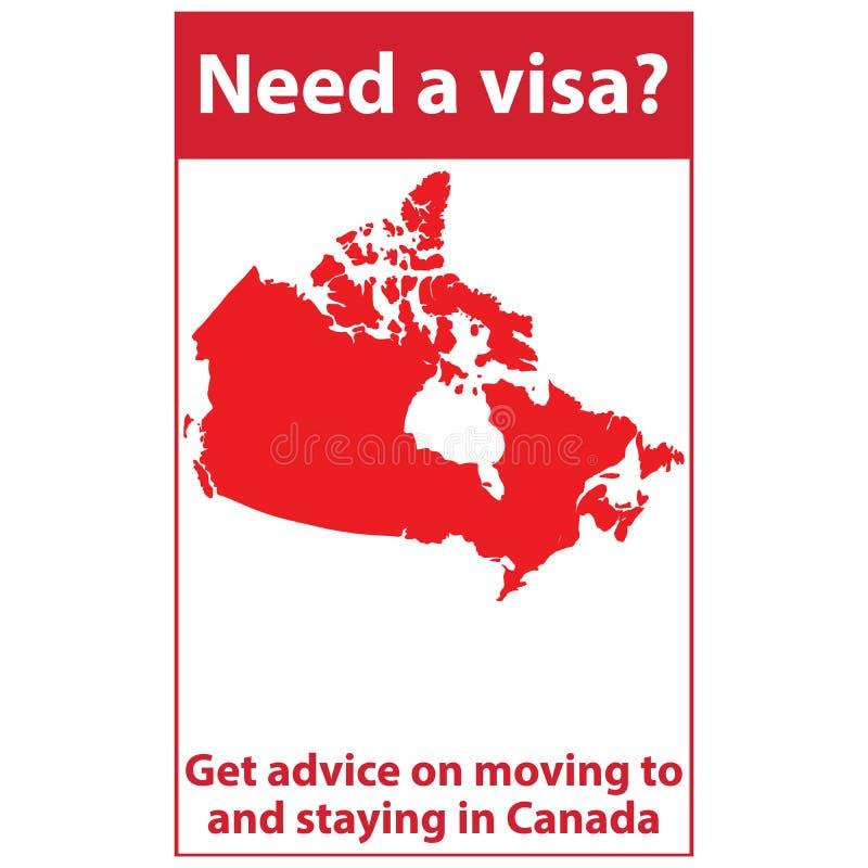 Nead um visto para Canadá Etiqueta para a cópia, mapa do ` s de Canadá incluído ilustração do vetor