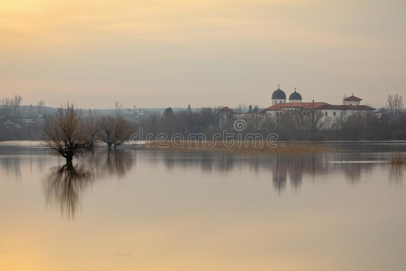 Neajlov river Delta and Comana Monastery at sunrise stock photos