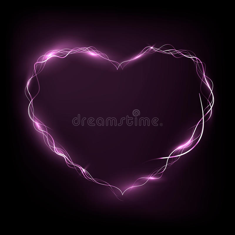 Download Nean Heart Glowing In The Darkness Stock Illustration - Illustration of valentine, shape: 89242505