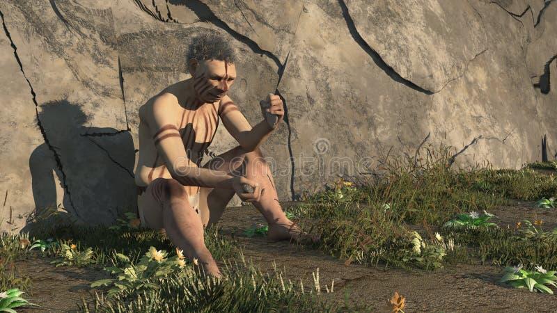 Neandertal velho ilustração royalty free