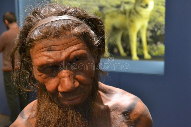 Neanderthal caveman stock photo