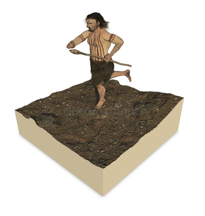 Neanderthal di omo illustrazione vettoriale