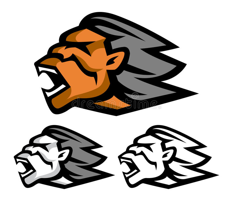Download Neanderthal head stock vector. Image of head, male, mascot - 30335371