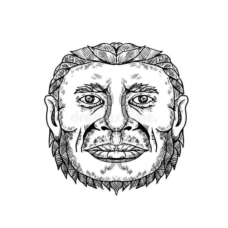Neanderthal-männliche Hauptgekritzel-Kunst vektor abbildung