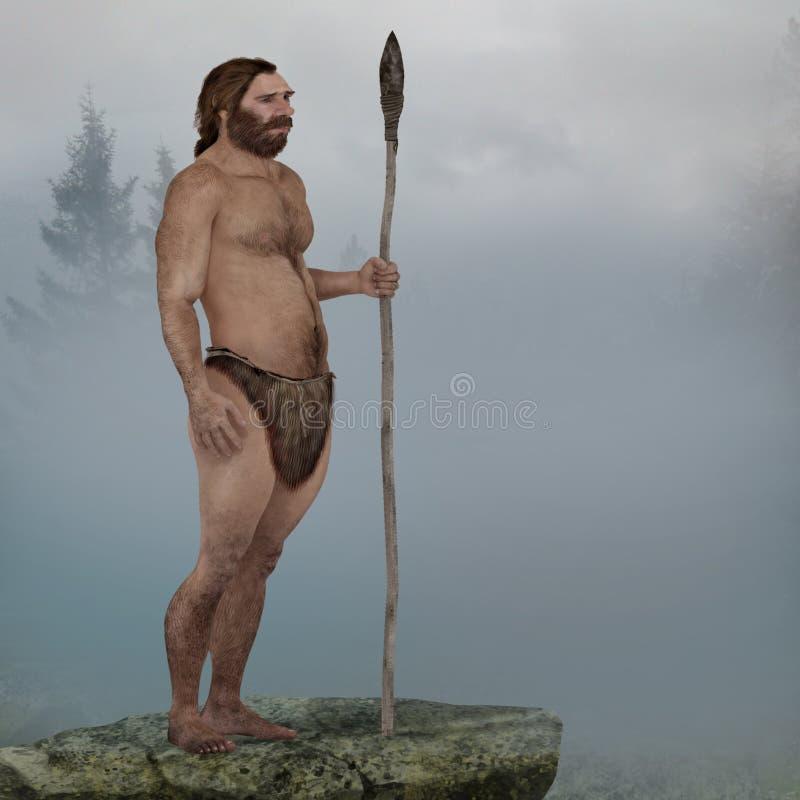 Neanderthaler in de mist stock illustratie
